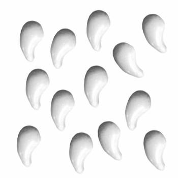Zoliduo Right White Czech Glass 2-Hole Paisley Beads 5x8mm 30 Bead Pack