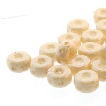 Octo 8x4mm 3-Hole Coin Chalk Beige Luster 20 Czech Glass Beads
