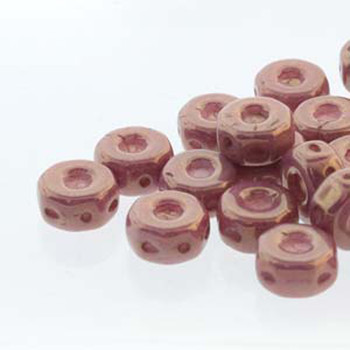Octo 8x4mm 3-Hole Coin Chalk Violet Luster 20 Czech Glass Beads