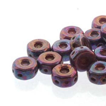 Octo 8x4mm 3-Hole Coin Chalk Iris Luster 20 Czech Glass Beads