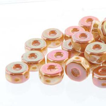 Octo 8x4mm 3-Hole Coin Chalk Apricot 20 Czech Glass Beads