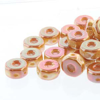 Octo 8x4mm 3-Hole Coin Chalk Apricot 20 Czech Glass Beads
