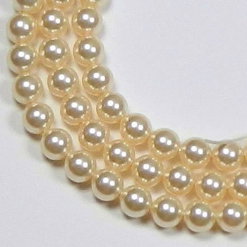 "100 Swarovski Crystal Pearls 4mm Round Beads 5810. 16"" Loose Strand Light Gold 581004Lgld"