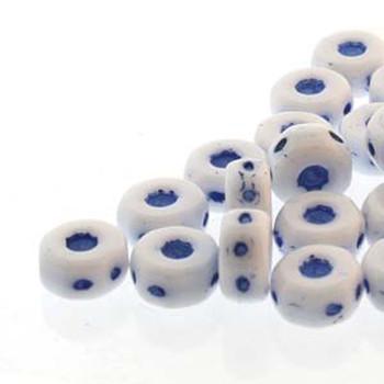 Octo 8x4mm 3-Hole Coin Chalk Blue 20 Czech Glass Beads