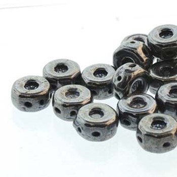 Octo 8x4mm 3-Hole Coin Jet Gunmetal 20 Czech Glass Beads