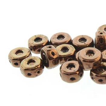 Octo 8x4mm 3-Hole Coin Jet Bronze 20 Czech Glass Beads