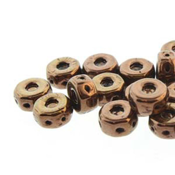 Octo 8x4mm 3-Hole Coin Jet Bronze 20 Czech Glass Beads