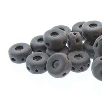 Octo 8x4mm 3-Hole Coin Jet Matte 20 Czech Glass Beads