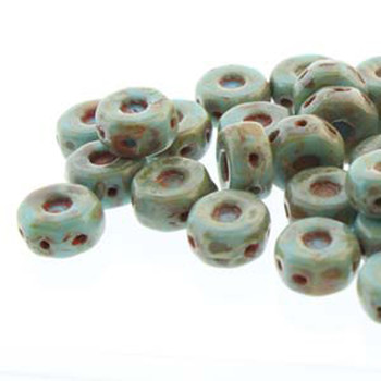 Octo 8x4mm 3-Hole Coin Turquoise Blue 20 Czech Glass Beads