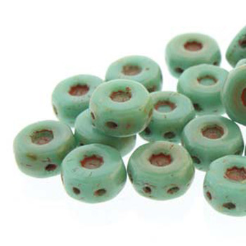 Octo 8x4mm 3-Hole Coin Turquoise Green 20 Czech Glass Beads