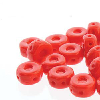 Octo 8x4mm 3-Hole Coin Red Opaque 20 Czech Glass Beads