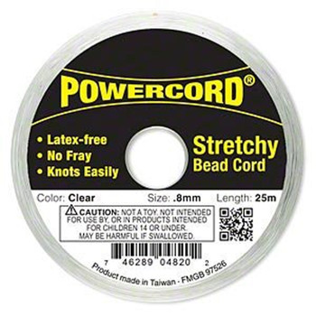 Powercord Elastic Stretch Cord Clear 0.8mm 8.5 Lb Test 25-Meter Latex-Free 1695Bs
