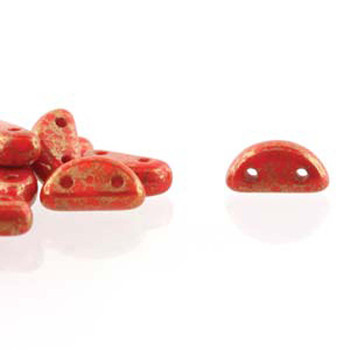 Half Moon 8x4mm Czech 2 Hole Glass Beads Coral Red Lumi 48 Beads