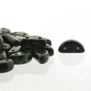 Half Moon 8x4mm Czech 2 Hole Glass Beads Jet Picasso 48 Beads