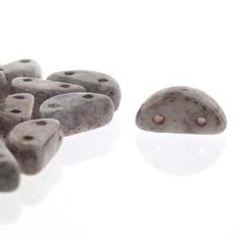 Half Moon 8x4mm Czech 2 Hole Glass Beads White Ter Copper 48 Beads