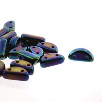 Half Moon 8x4mm Czech 2 Hole Glass Beads Blue Iris 48 Beads
