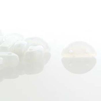 Half Moon 8x4mm Czech 2 Hole Glass Beads White 48 Beads