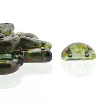Half Moon 8x4mm Czech 2 Hole Glass Beads Crystal Trav Blue 48 Beads