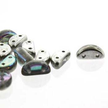 Half Moon 8x4mm Czech 2 Hole Glass Beads Crystal Silver Rainbow 48 Beads