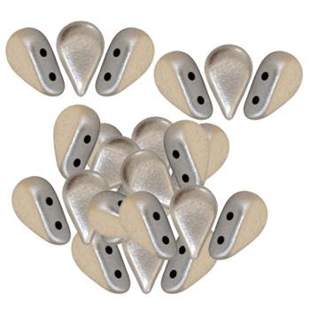 Amos 2 Hole Par Puca Czech Glass Beads 5x8mm Metallic Matte Beige 30 Beads
