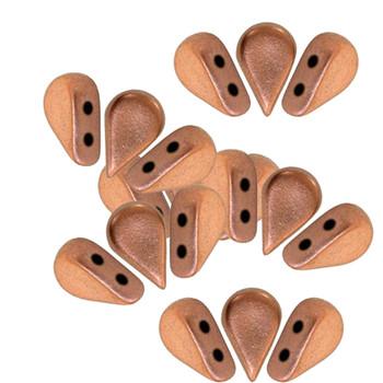 Amos 2 Hole Par Puca Czech Glass Beads 5x8mm Copper Gold Matte 30 Beads