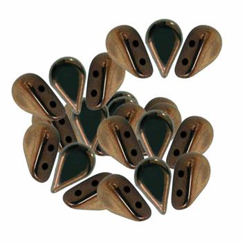 Amos 2 Hole Par Puca Czech Glass Beads 5x8mm Dark Bronze 30 Beads