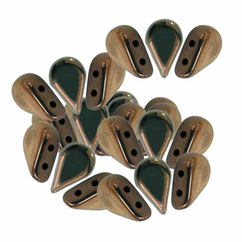 Amos 2 Hole Par Puca Czech Glass Beads 5x8mm Dark Bronze Matte 30 Beads