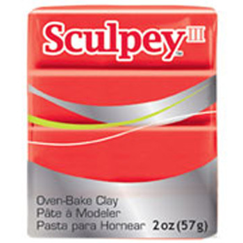 Sculpey Iii Original Polymer Clay, 2Oz, Red Hot Red Pfms583