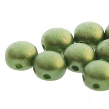 Pastel Olive Preciosa 25 Czech Glass Candy Beads 6mm 2-Hole Cabachon Cnd0625034