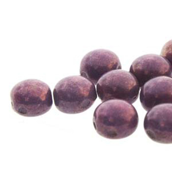 Purple Vega Preciosa 25 Czech Glass Candy Beads 6mm 2-Hole Cabachon Cnd0602010-15726