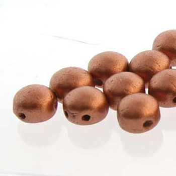 Vintage Copper Preciosa 25 Czech Glass Candy Beads 6mm 2-Hole Cabachon Cnd0602010-01770