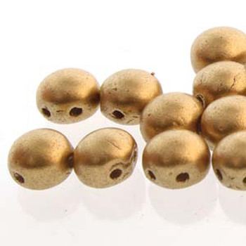 Pale Gold Bronze Preciosa 25 Czech Glass Candy Beads 6mm 2-Hole Cabochon Cnd0602010-01710