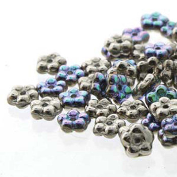 Crystal Silver Rainbow Forget-Me-Not 5mm Czech Glass Fower Spacer Daisy Beads 20 Grams
