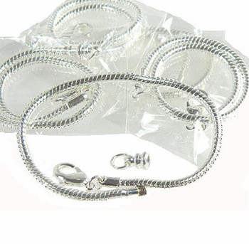 "5 Pack 7-1/2"" Bracelet Snake Chain Fits Pandora Chamilia Troll Biagi Beads Fits 3.5mm Holes Z-C-Chkit750Five"
