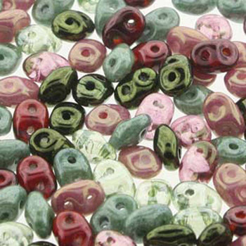 SuperDuo Antique Roses Mix 2.5x5mm 2 Hole Glass Seed Beads 100gr