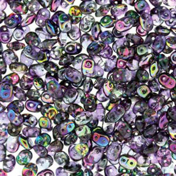 Superduo Crystal Magic Grey-Violet 2.5x5mm 2 Hole Glass Seed Beads 22 Grams Du0500030-95500