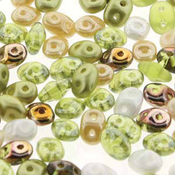 SuperDuo Key Lime Pie Mix 2.5x5mm 2 Hole Glass Seed Beads 100gr