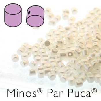 Pastel White Minos Par Puca 2 5x3mm Cylinder Czech Glass Beads 5 Grams