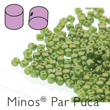 Pastel Olivine Minos Par Puca 2 5x3mm Cylinder Czech Glass Beads 5 Grams