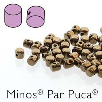 Dark Gold Bronze  Minos Par Puca 2 5x3mm Cylinder Czech Glass Beads 5 Grams