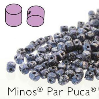 Tweedy Blue Minos Par Puca 2 5x3mm Cylinder Czech Glass Beads 5 Grams