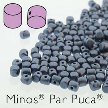 Metallic Mat Blue  Minos Par Puca 2 5x3mm Cylinder Czech Glass Beads 5 Grams