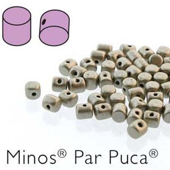 Metallic Mat Beige  Minos Par Puca 2 5x3mm Cylinder Czech Glass Beads 5 Grams