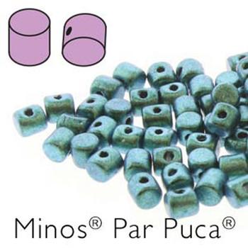 Metallic Mat Green Turquoise Minos Par Puca 2 5x3mm Cylinder Czech Glass Beads 5 Grams