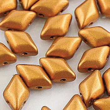 Gemduo 8x5mm Bronze Gold 2-Holes Diamond Shape Beads 30 Beads