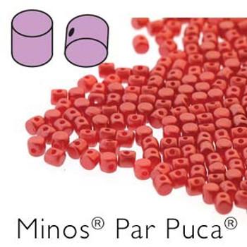 Pastel Dark Coral Minos Par Puca 2 5x3mm Cylinder Czech Glass Beads 5 Grams
