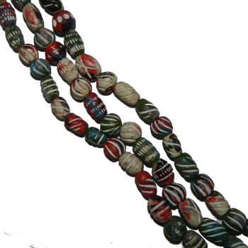 "8x10mm Hand Made Tericata Hand Painted Beads Aprx 8"" Loose Strand 18-20"