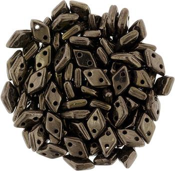 Dk Bronze CzechMate 2 hole Diamonds 9.5 grams 130 Beads 4x6.5mm