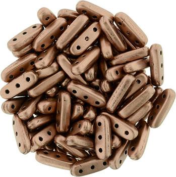 Matte Metallic Bronze Copper Czechmates Beam 3x10mm 3 Hole Glass Spacer 30 Bar Beads