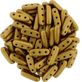 Matte Metallic Goldenrod Czechmates Beam 3x10mm 3 Hole Glass Spacer 30 Bar Beads